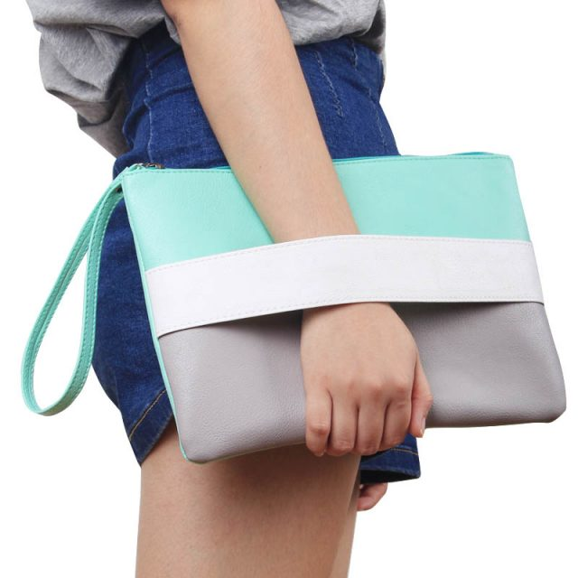 Candy Color Leather Clutch