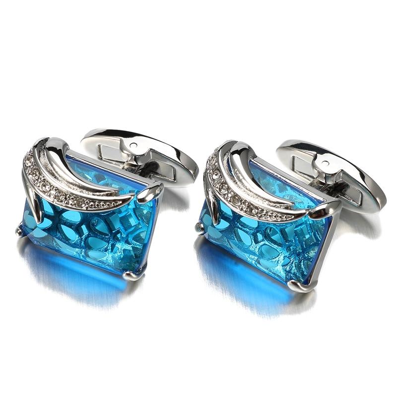 Low-key Luxury Blue Glass Cufflinks for Mens Lepton Brand High Quality Square Crystal Cufflinks Shirt Cuff Links Relojes Gemelos