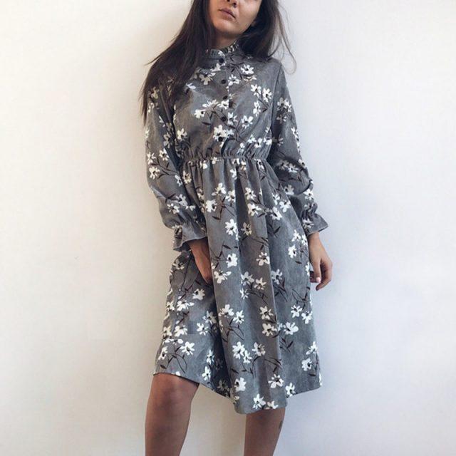 Corduroy High Elastic Waist Vintage Dress