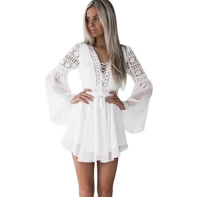V-Neck Long Sleeve Dres