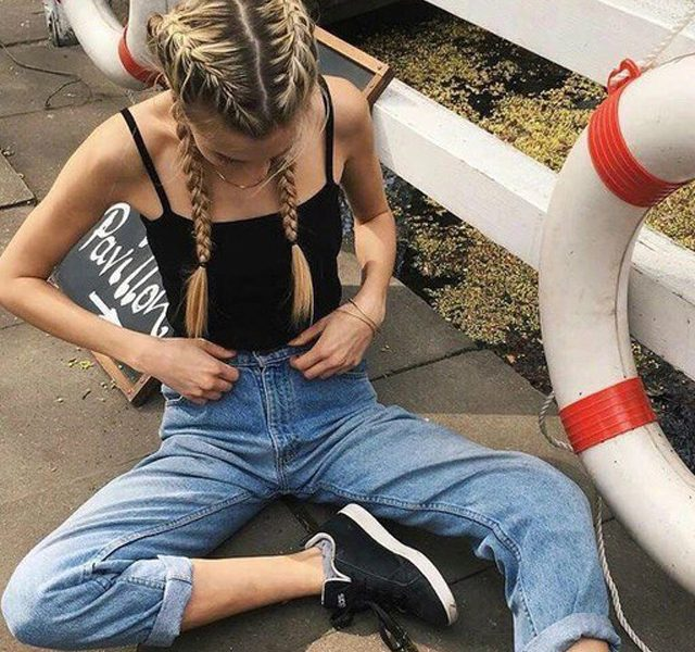 Women High Waist Jeans Vintage Mom Style