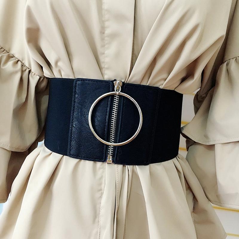 Women Ultra Wide Circle Ring Black Cummerbund Waist Belt